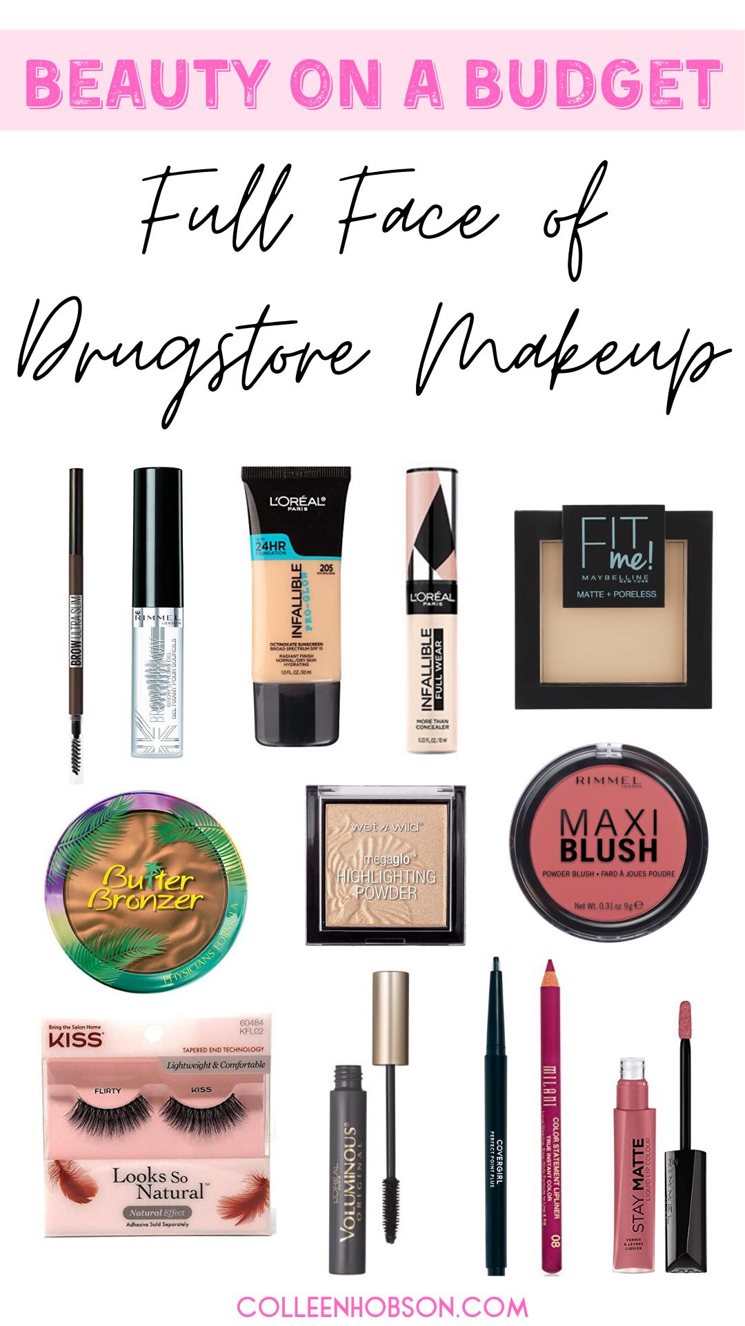 Drugstore Makeup Routine Full Face Tutorial Colleen Hobson In 2020 Drugstore Makeup Tutorial Drugstore Makeup Good Drugstore Bronzer