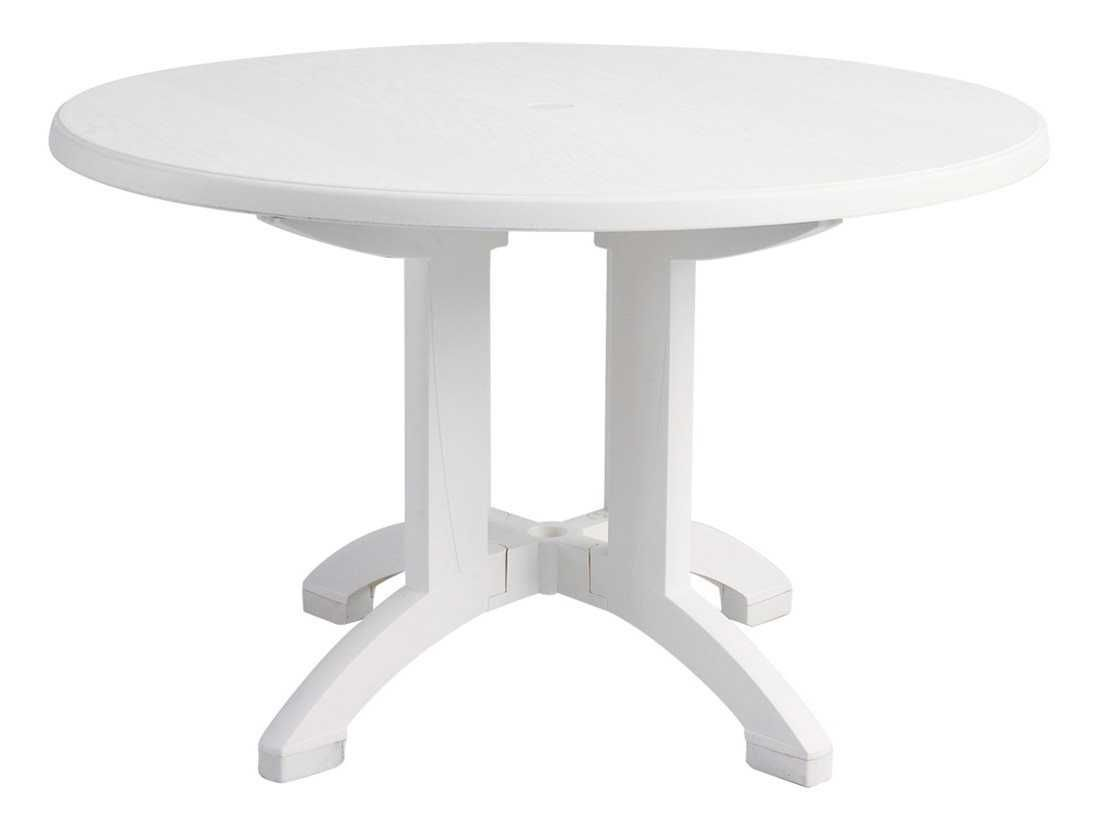 Grosfillex Aquaba Classic Resin White 48 Wide Round Woodgrain Top Dining Table With Umbrella Hole Dining Table Round Pedestal Tables White Round Tables [ jpg ]