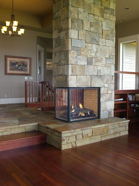3 sided fireplace designed with stairs client board for Open sided fireplace