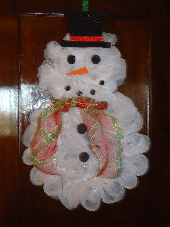 Handmade Deco Mesh Snowman Wreath By Galalittle On Etsy