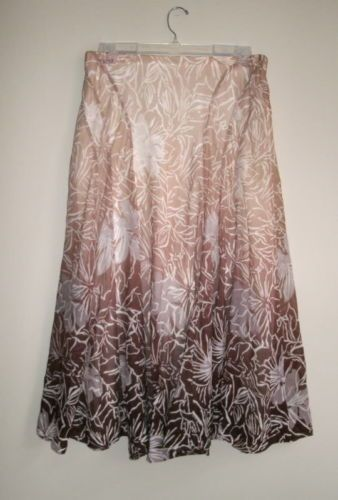 NEW-100-COLDWATER-CREEK-CWC-Sz-M-8-10-Brown-Tan-Ombre-Floral-Long-Skirt-Stretch