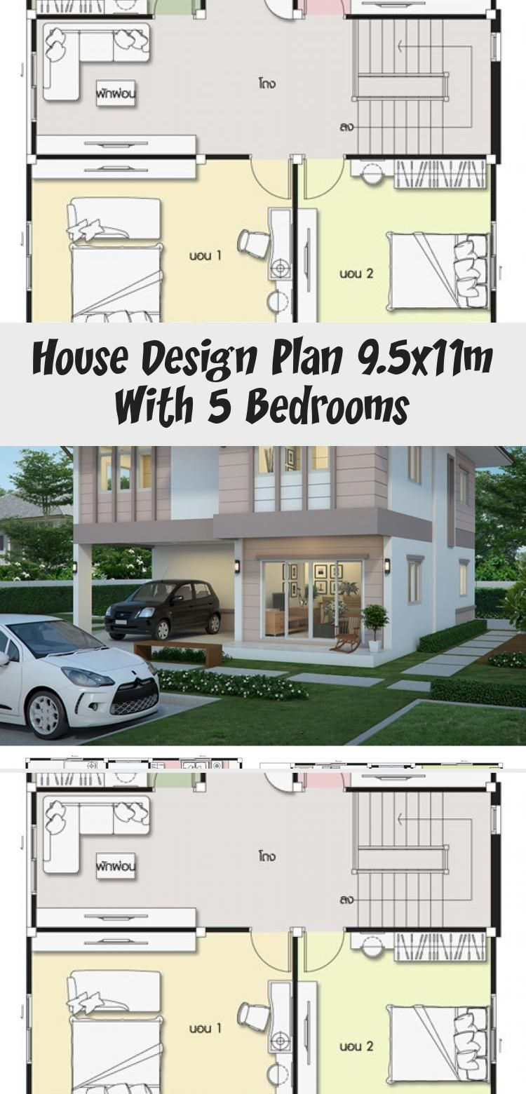 House Design Plan 9 5x11m With 5 Bedrooms Home Design With Plan Modernhouseplansideas Asianmoder In 2020 Home Design Plans Modern House Plans Courtyard House Plans
