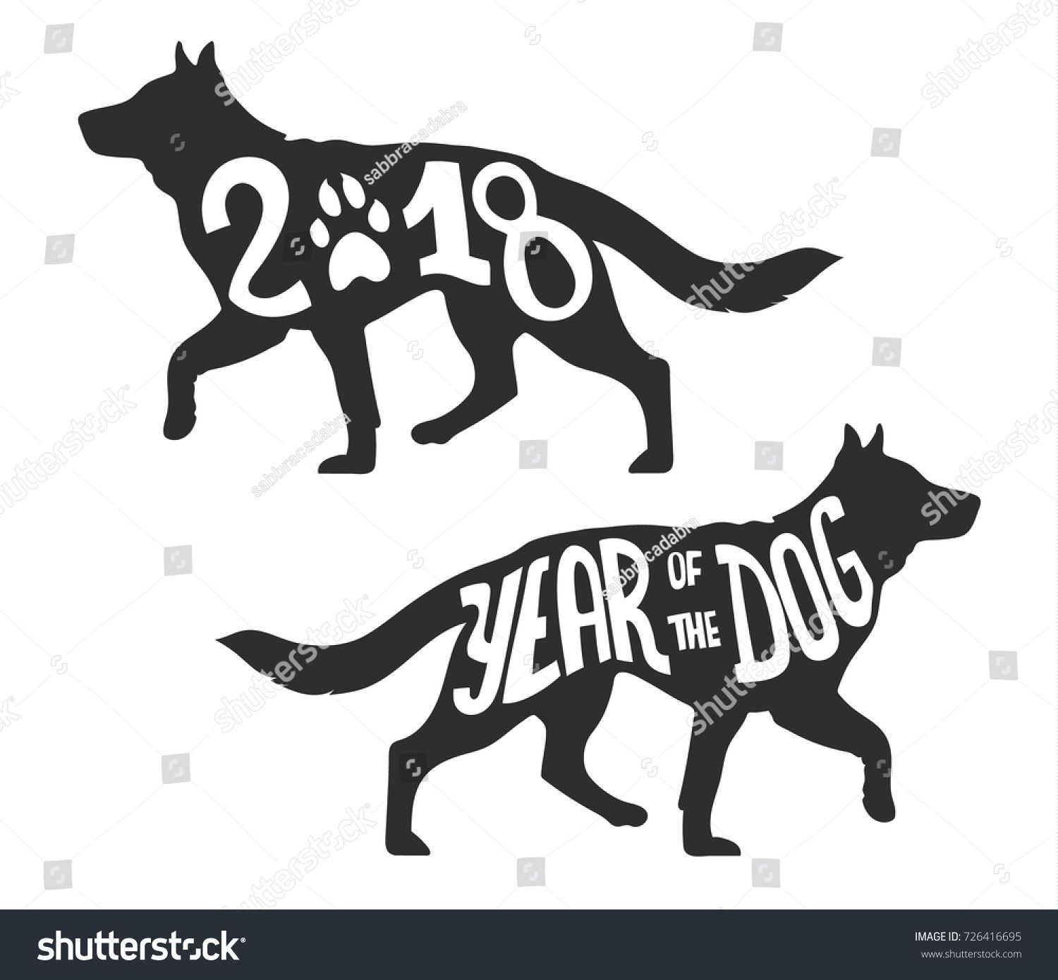 Silhouette Of The Dog Walking, Isolated Vector Illustration For The