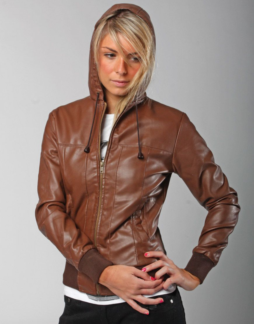 Women's Vintage Brown Faux Hooded Leather Bomber Jacket | Dope ...