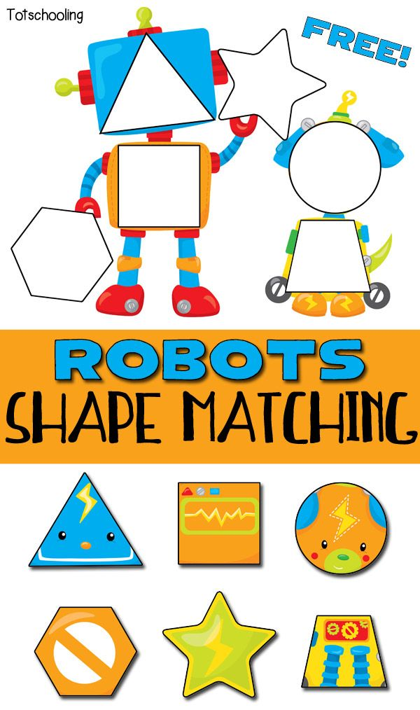 Robots Shape Matching Puzzle For Toddlers Free Educational