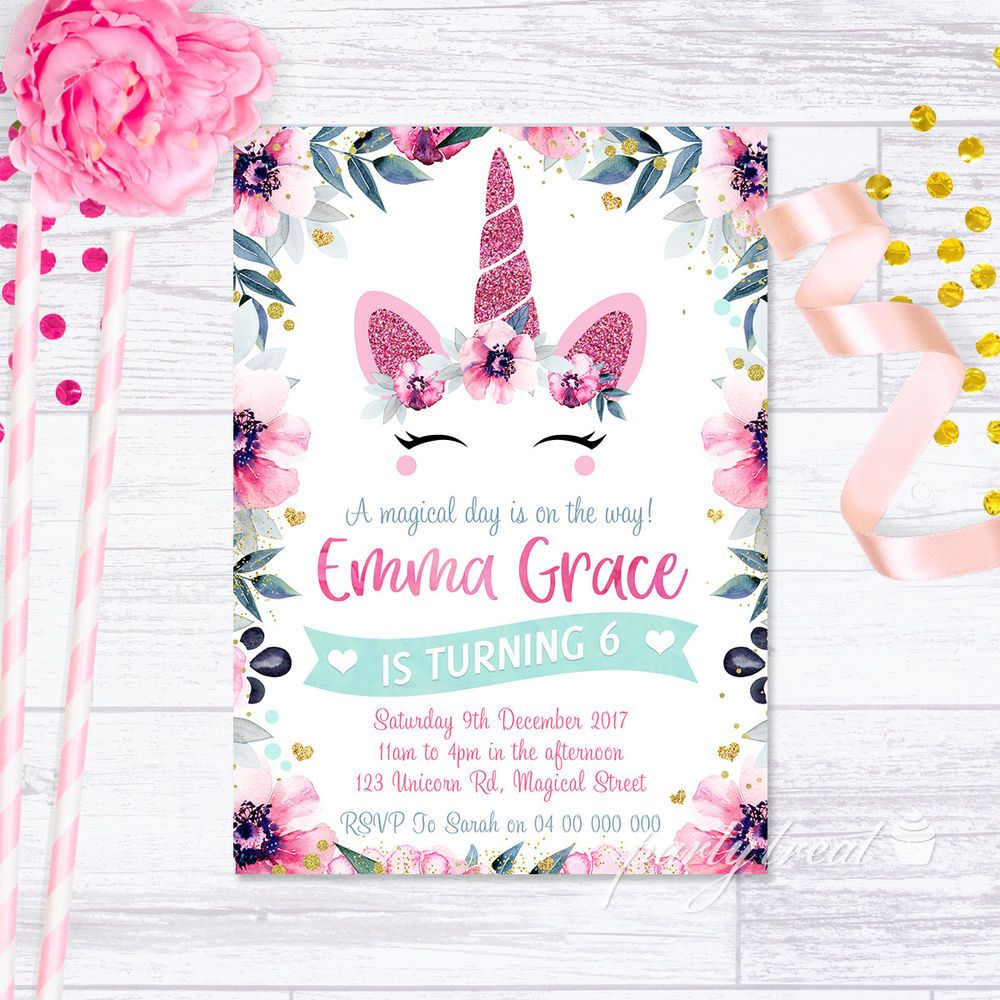 Details About Unicorn Invitation Birthday Party Pink Glitter