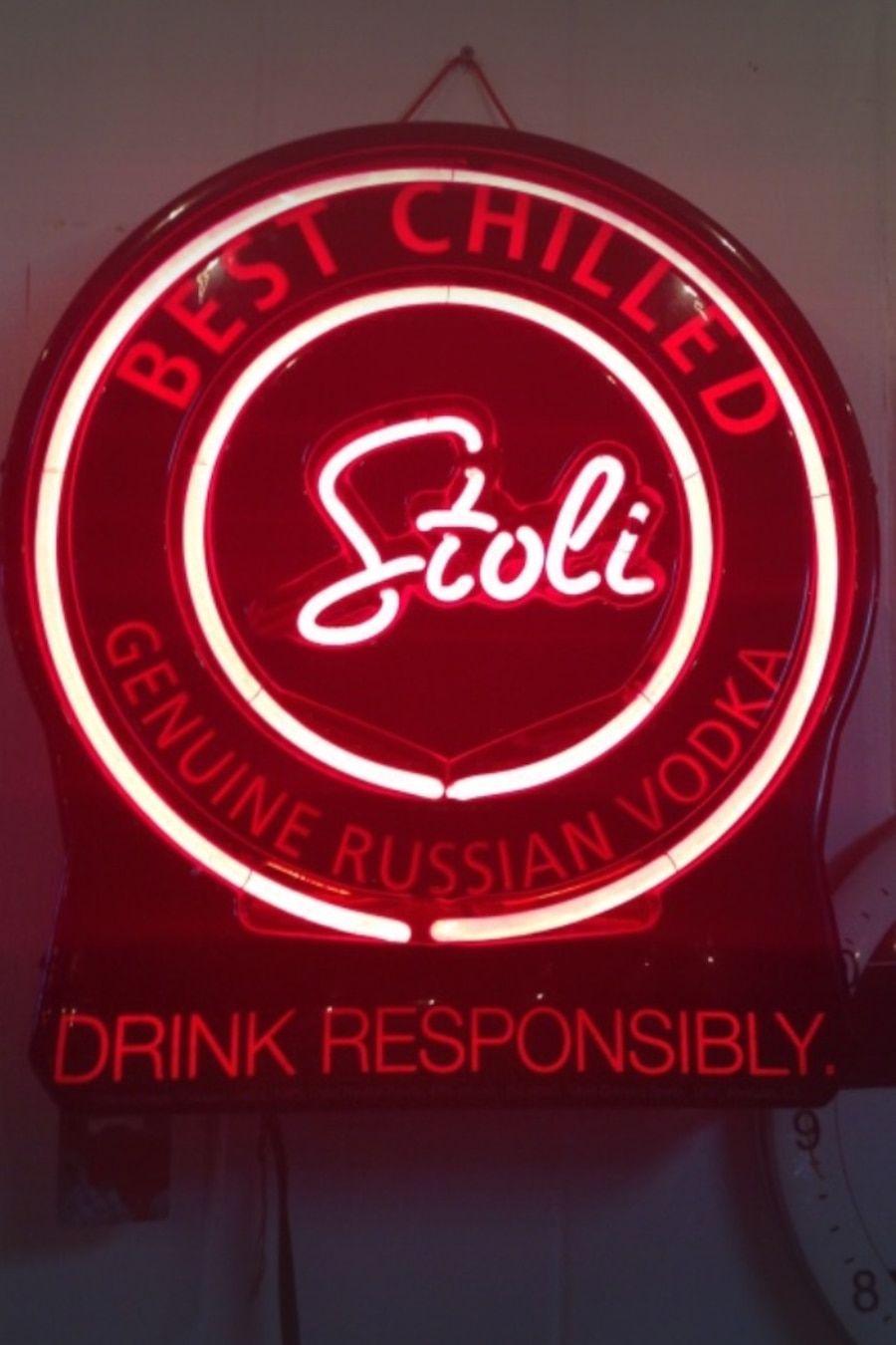 sign russian neon vodka alcohol used signs stoli letgo zachary