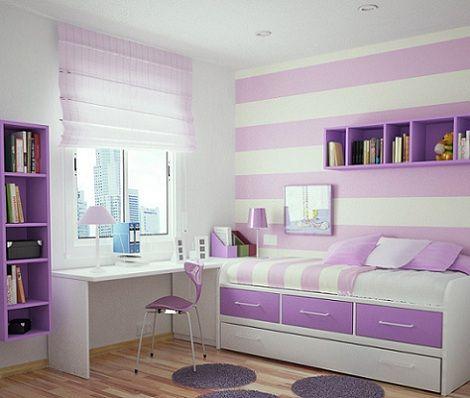 Decoraci n de habitaciones con l neas horizontales para - Habitaciones juveniles ninas ...