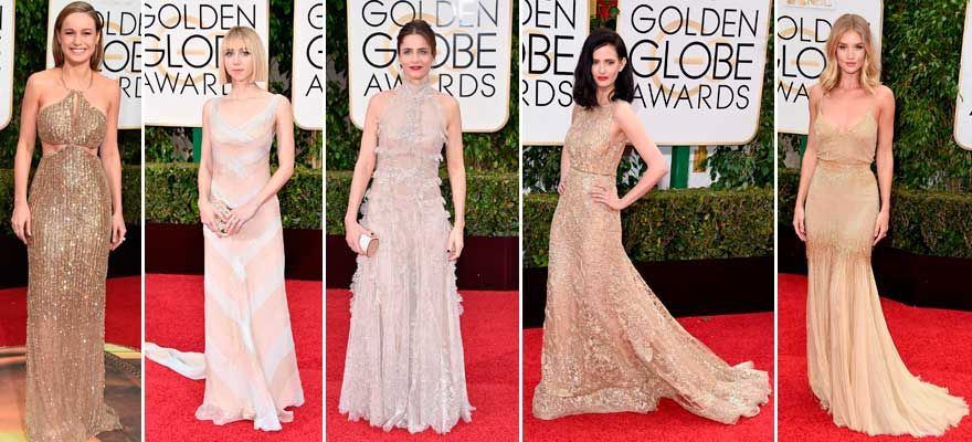 The Golden Globes celebrities in golden and nude dresses