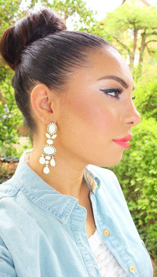 high bun + pretty earclips | Pretty hairstyles, Hair game, Hair styles