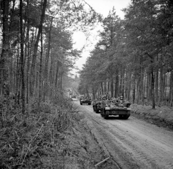 Universal carriers of the 2nd Seaforth Highlanders in the Reichswald forest, 10 February 1945.