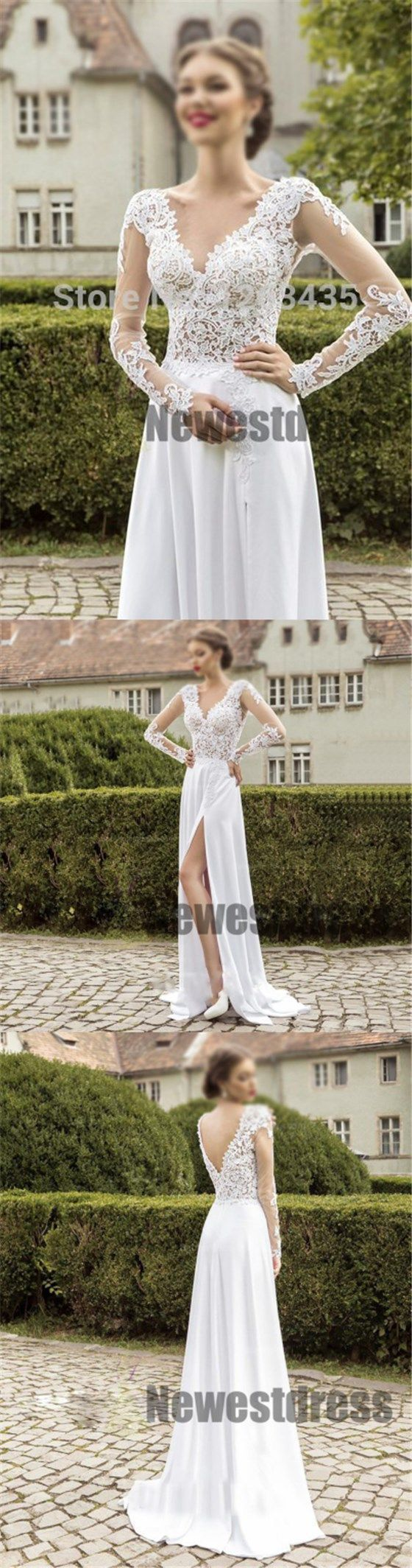 Long sleeves top lace cheap chiffon soft side slit wedding dresses