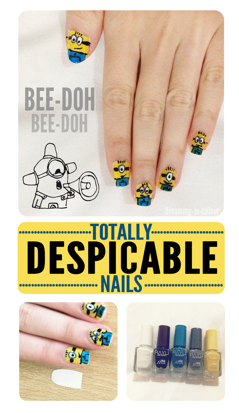 DIY despicable me minion nail art tutorial | personal diy projects ...