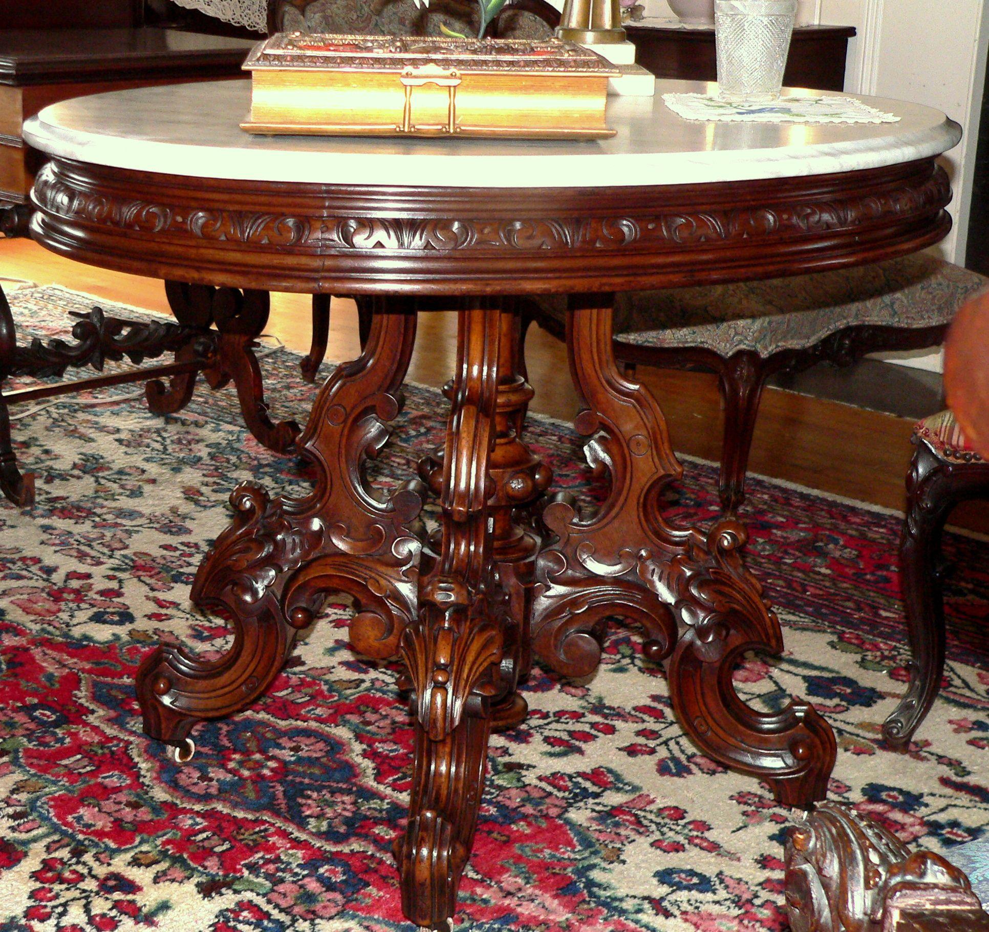 C1870 Renaissance Victorian Parlor Table Walnut Thomas Brooks