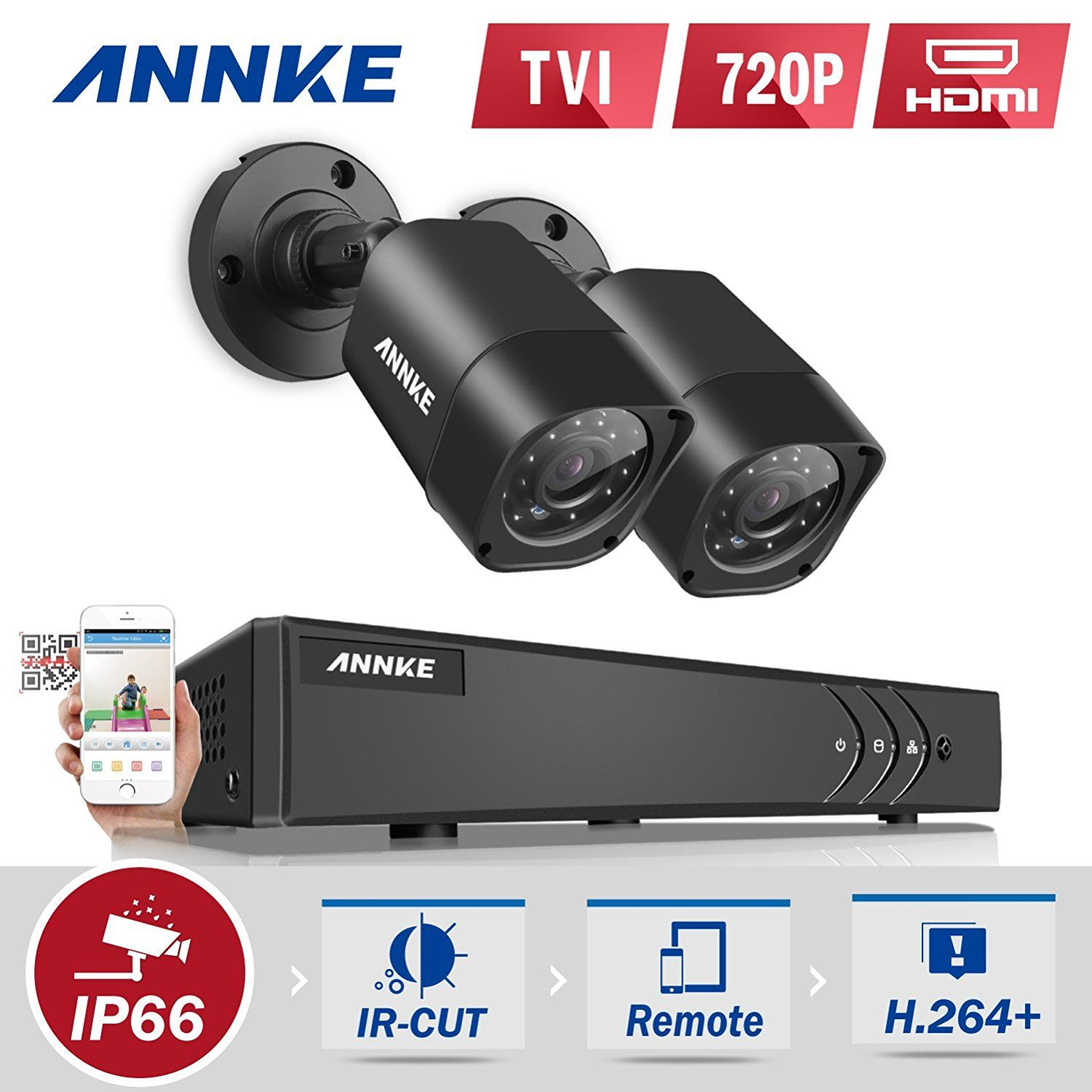ANNKE 4+1-Channel 1080P Lite CCTV Camera System H.264+ HD ...