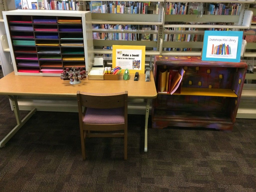 Bookmaking Station And Kids Library This Is So Inspiring Kids Library Book Making Library Organization