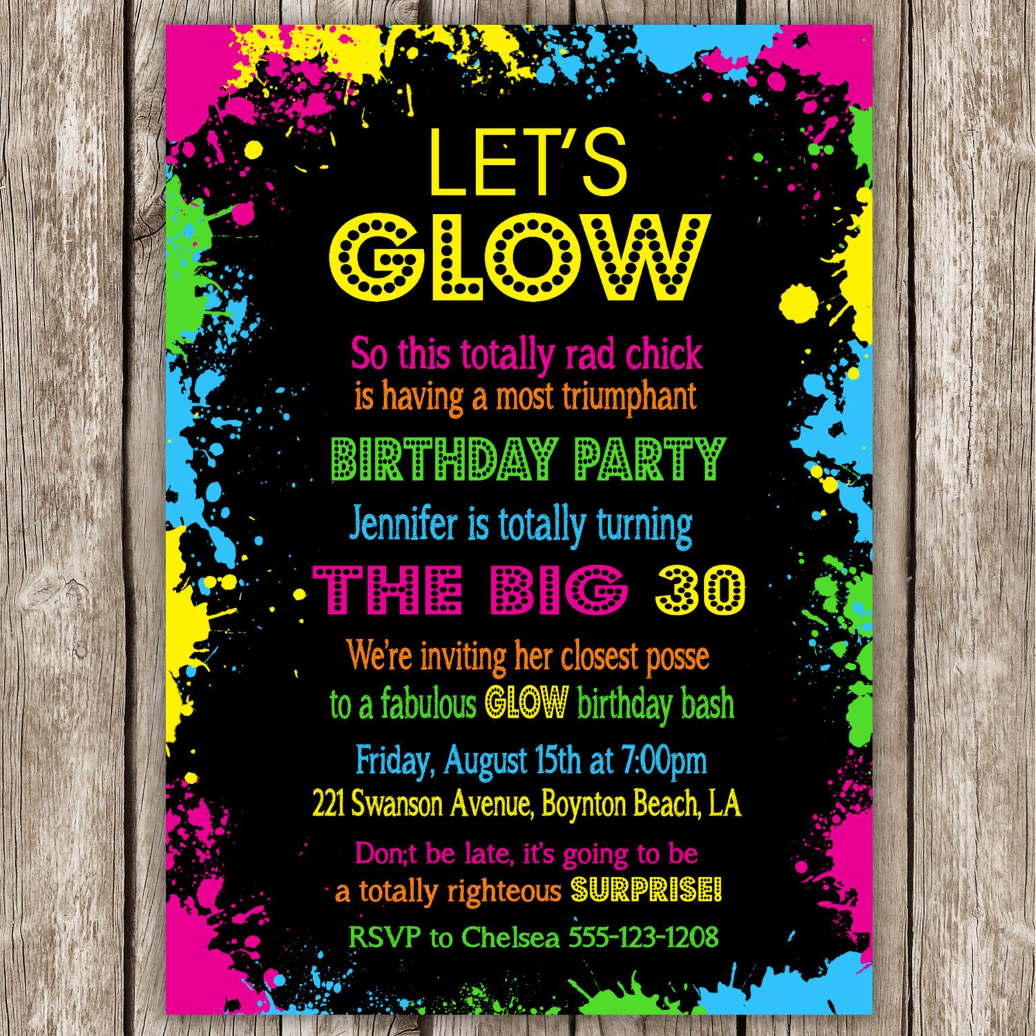 Neon Party Invitation Wording Glow In The Dark – 80s Theme Party Invitations