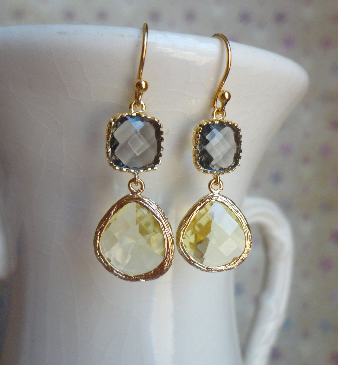 Grey Colour Earrings: Gorgeous Yellow And Gray Glass Dangle Earrings. Color