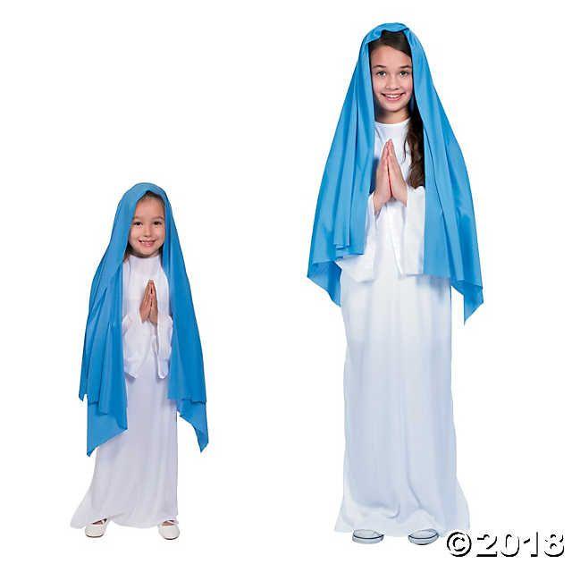 Girls Kids Nativity Mary Classic Blue White Christmas School Play Costume