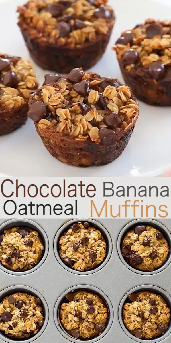 Photo of Healthy Banana Chocolate Chip Oatmeal Muffins Chef Savvy – Healthy Banana …