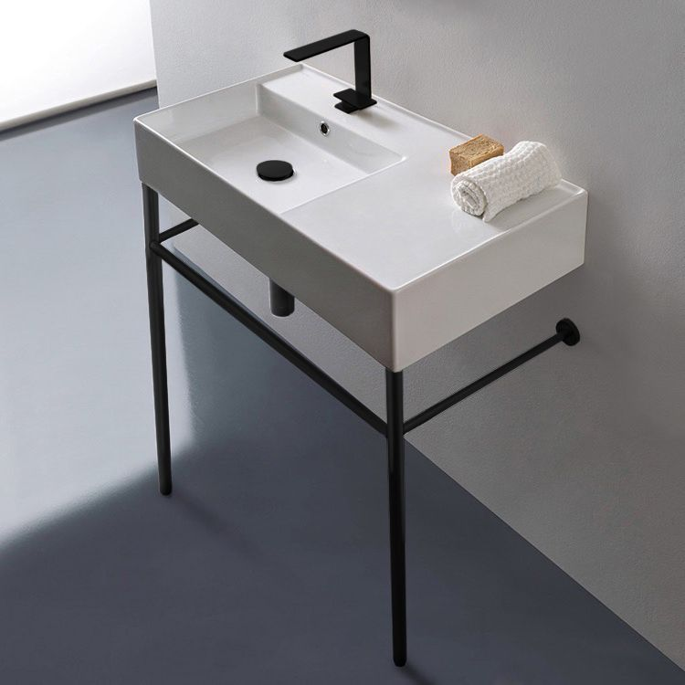 Photo of Ceramic Console Sink and Matte Black Stand