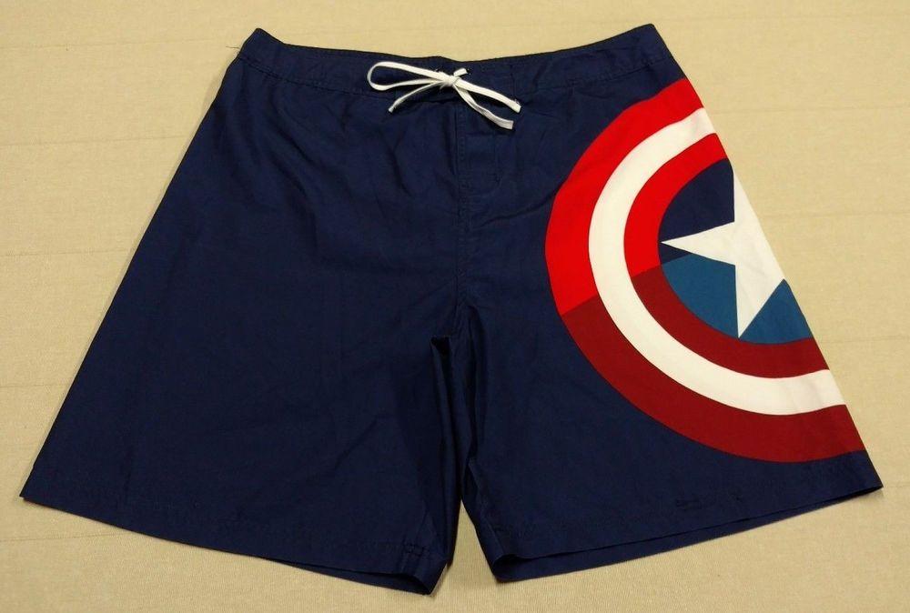 7765cfcb8c Mens Marvel Comics *CAPTAIN AMERICA* Swimming Trunks Board Shorts Size  Large EUC #Marvel #BoardShorts