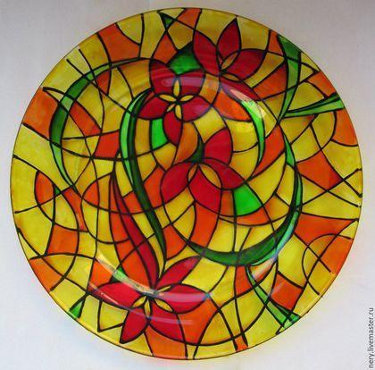 """Декоративная посуда ручной работы. Ярмарка Мастеров - ручная работа. Купить Тарелка """"Огненный цветок"""". Handmade. Разноцветный, витражная тарелка"""