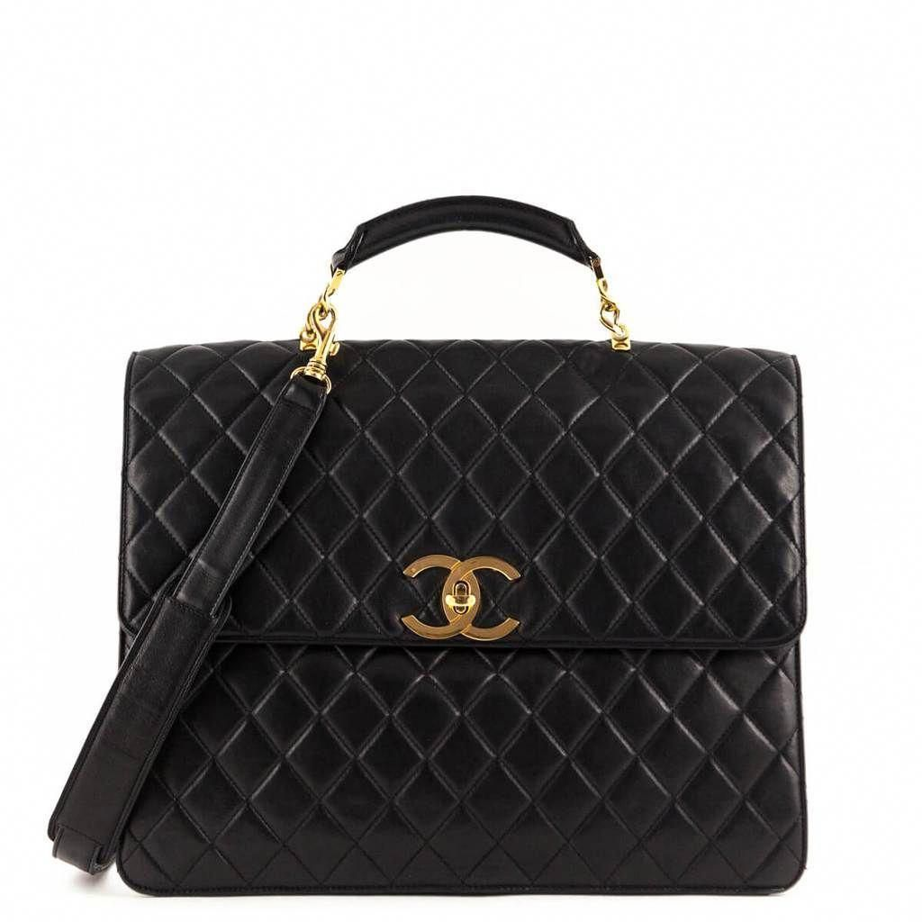 cf4306a59966 Chanel Black Lambskin Vintage Two Way Top Handle - LOVE that BAG - Preowned  Authentic Designer Handbags -  3980CAD  Chanelhandbags
