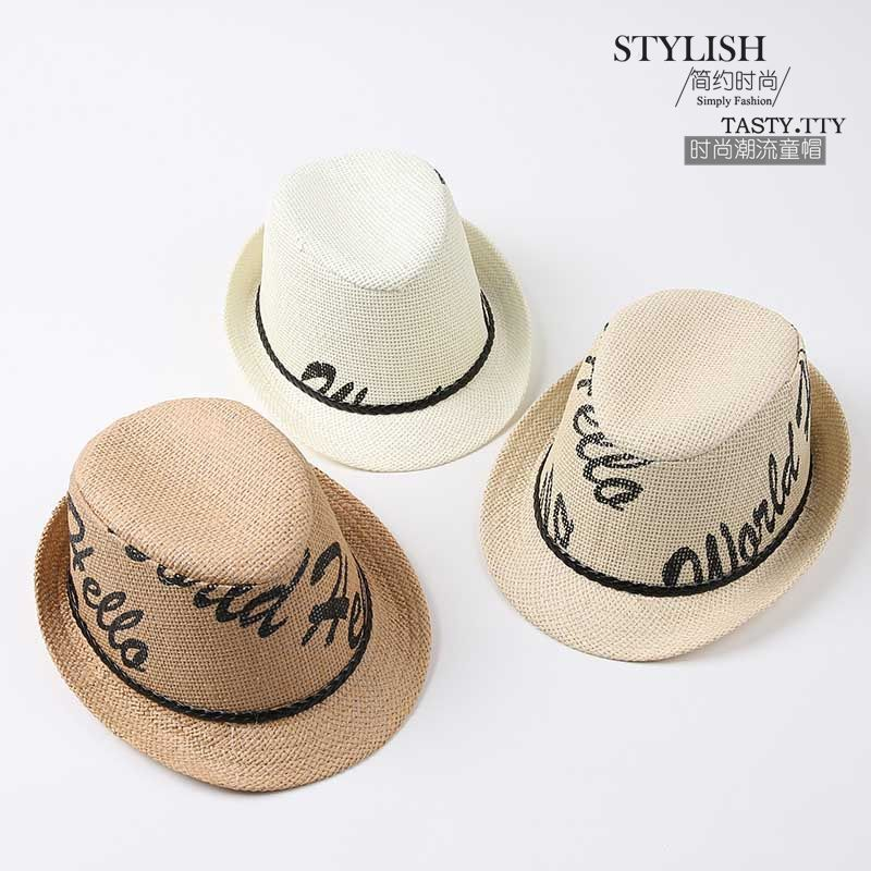 e7edf2bb46d79 Click to Buy    2016 New Summer Kids Straw Fedora Hat Gentlemen Letter Boys  Girls Fedoras Jazz Hats Boys Girls Straw Panama Sun Hats  Affiliate