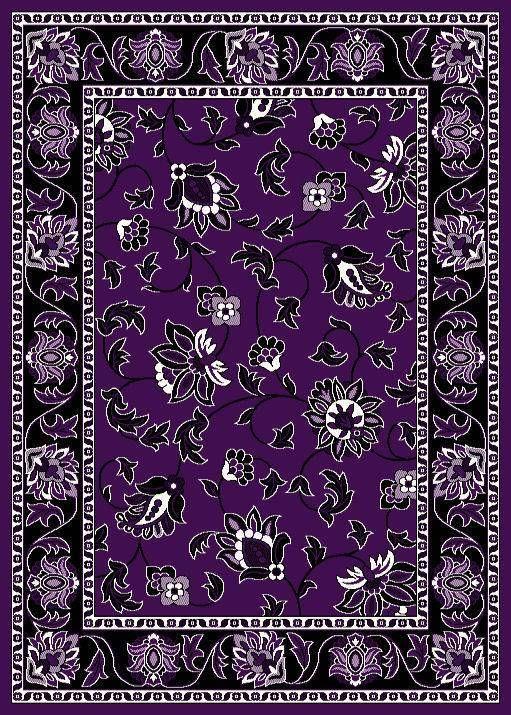 1005 Purple Black White Floral 8x10 Modern Area Rug Carpet