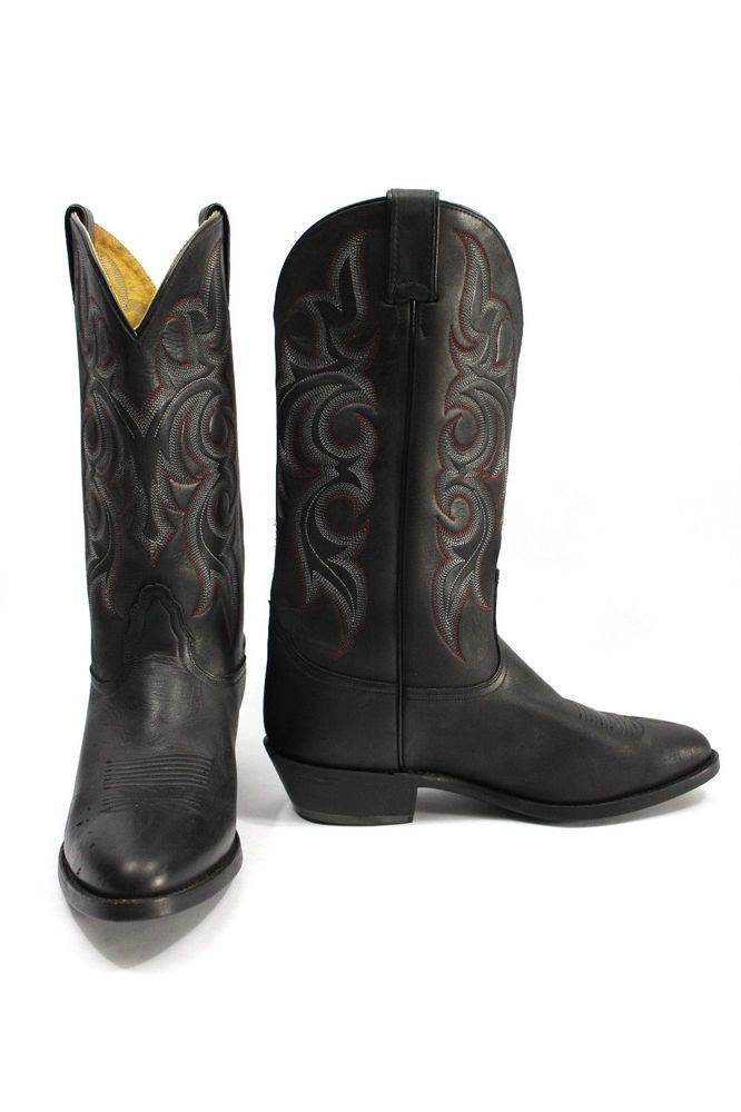 Men S Black Leather Western Nocona Cowboy Boots Made In Mexico