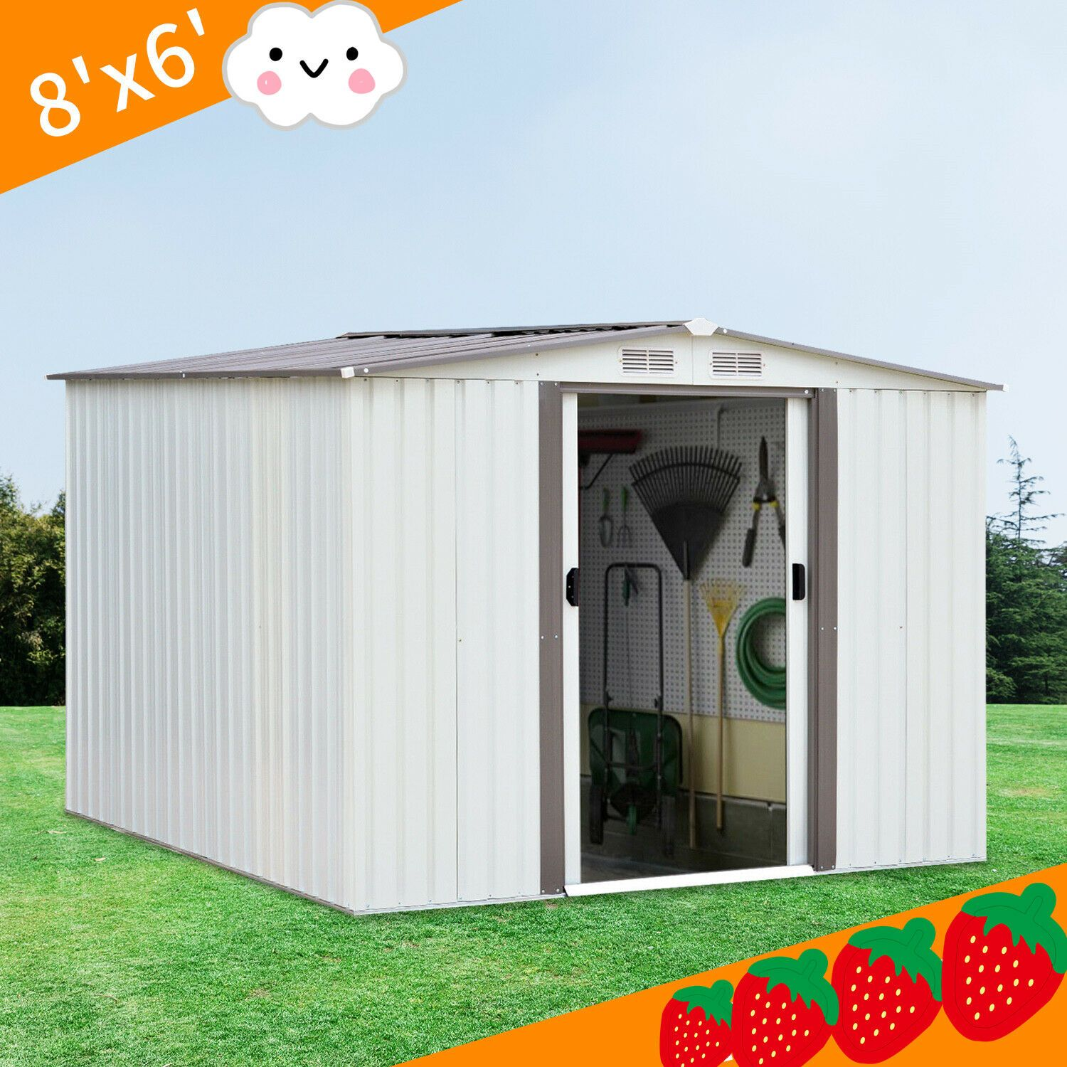 Details About 8 X6 House Sliding Door Outdoor Garden Storage Shed Tool New Outdoor Garden Storage