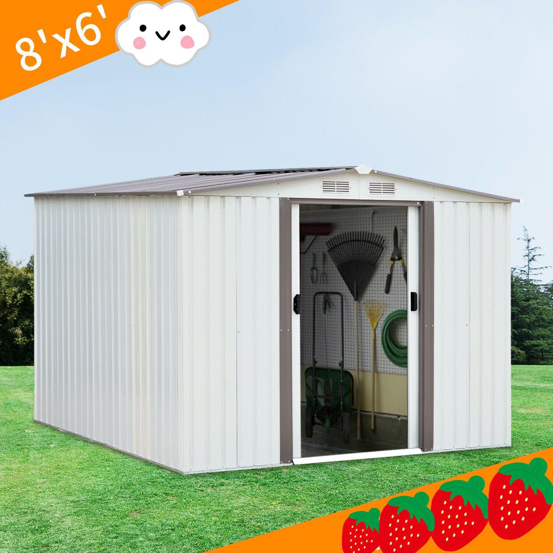 Details About 8 X6 House Sliding Door Outdoor Garden Storage Shed Tool New Outdoor Garden Storage