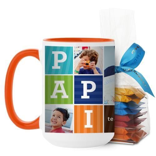 Papi Mug, Orange, with Ghirardelli Minis, 15 oz, Brown