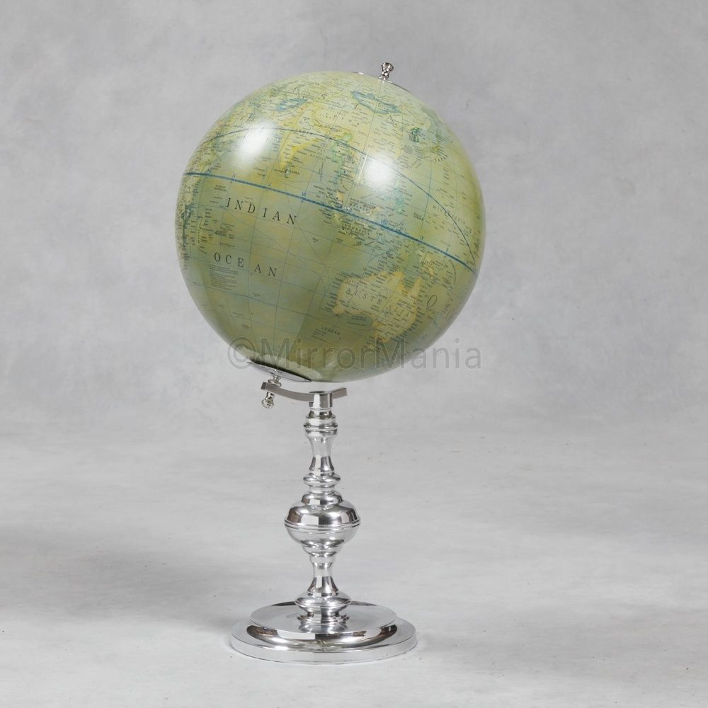 Large Decorative Globe On Nickel Plated Stand - Unusual Accessories ...