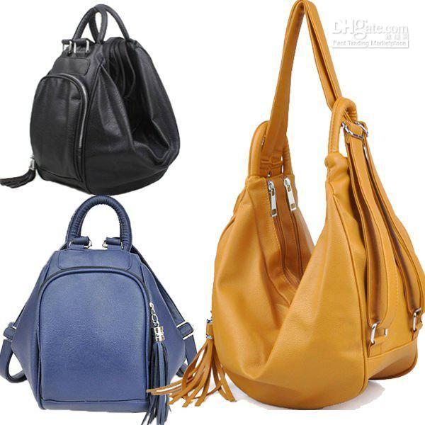 Wholesale Backpack Style - Buy New Fashion Women s Backpack PU Leather Hobo Lady  Handbags Multi-use Bag Travel Bag Tassel Free Ship e25d2b76c83f8