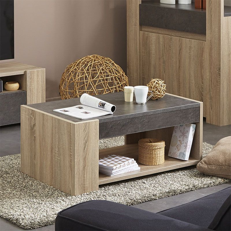 table basse couleur ch ne clair et effet b ton contemporaine kouak deco pinterest tables. Black Bedroom Furniture Sets. Home Design Ideas