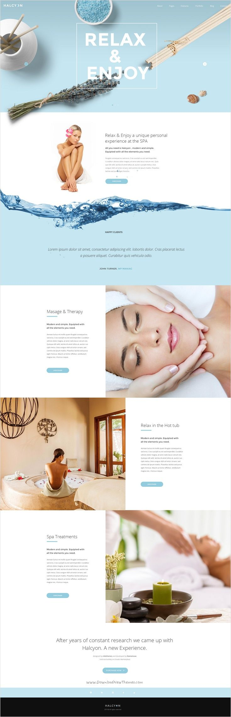 Halcyon is a beautifully design premium #PSD template for #beauty & #spa website with 30+ multipurpose homepage layouts and 52 organized PSD pages download now➩ https://themeforest.net/item/halcyon-multipurpose-modern-website-psd-template/17535264?ref=Datasata