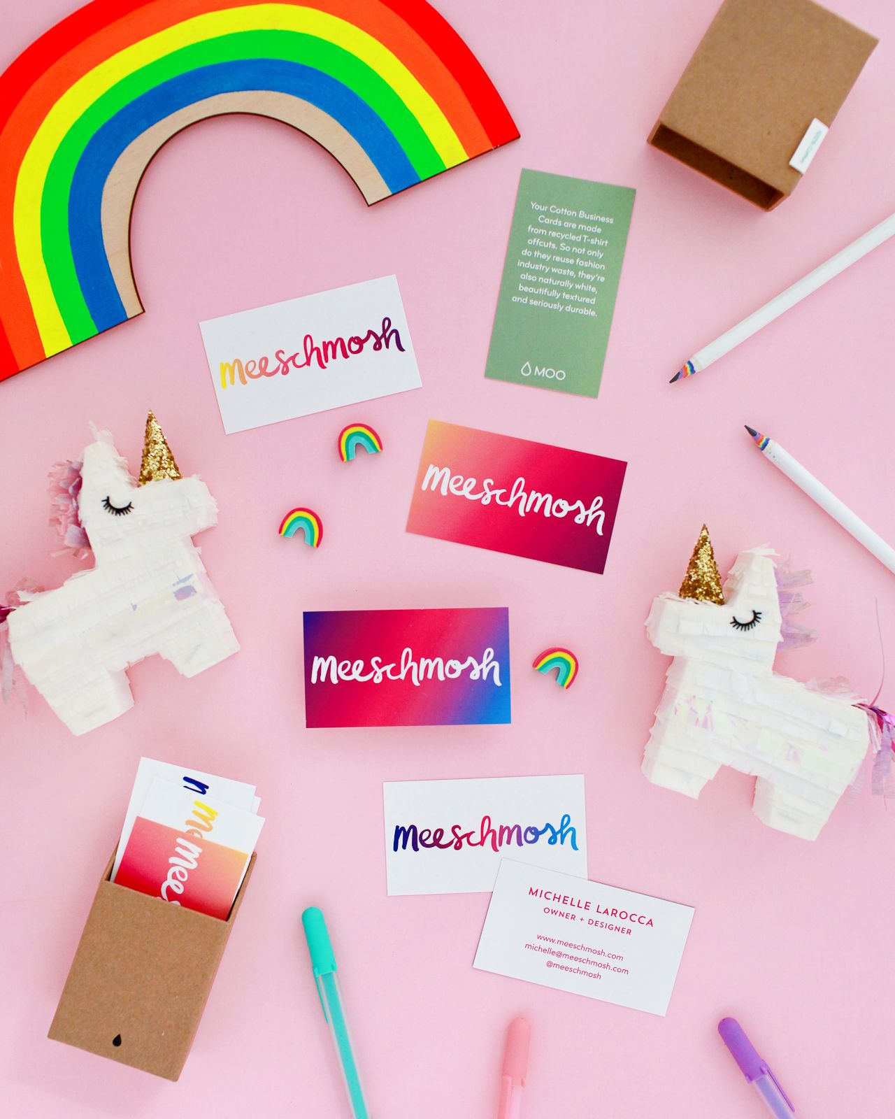 Colorful and creative business cards with moo recycled