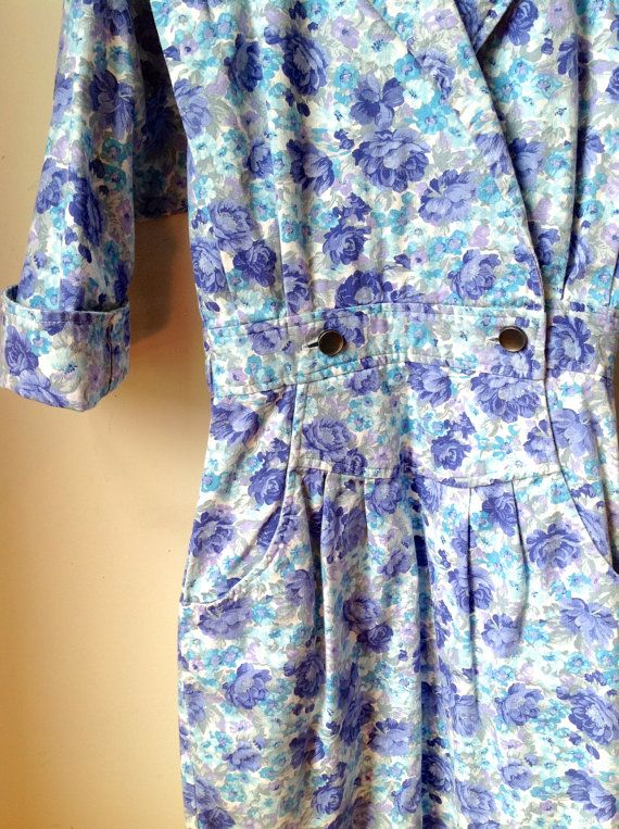 80s jean floral dress by All That Jazz with by blackandbluevintage, $39.00