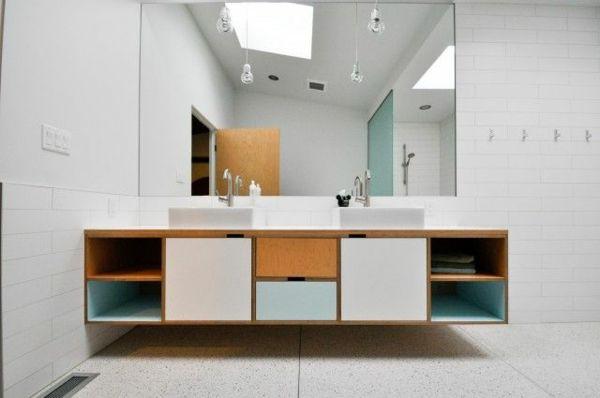 Badezimmer Becken ~ Holz farbige akzente badezimmer zwei waschbecken wohnen