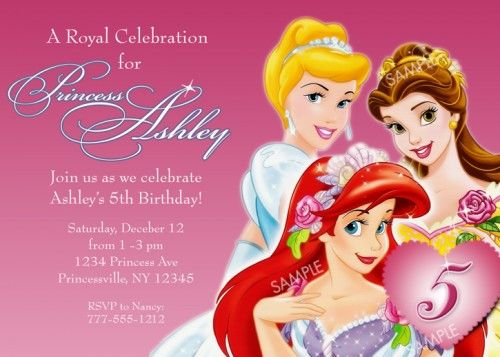 Awesome Disney Princess for Girl Birthday Invitations Ideas