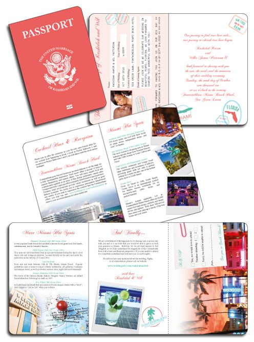 Miami Passport Invitation created in coral pink with customised US Passport seal on the cover - Even comes with a tear off RSVP card!