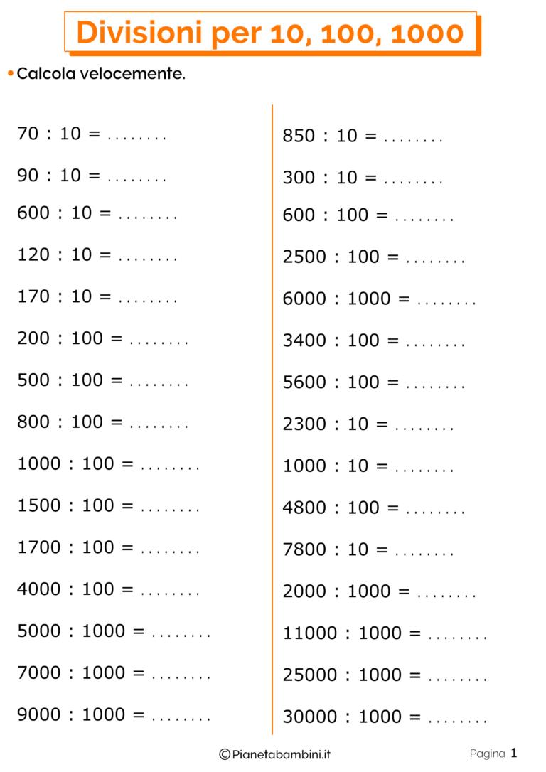 Divisioni per 10, 100 e 1000: Esercizi per la Scuola ...