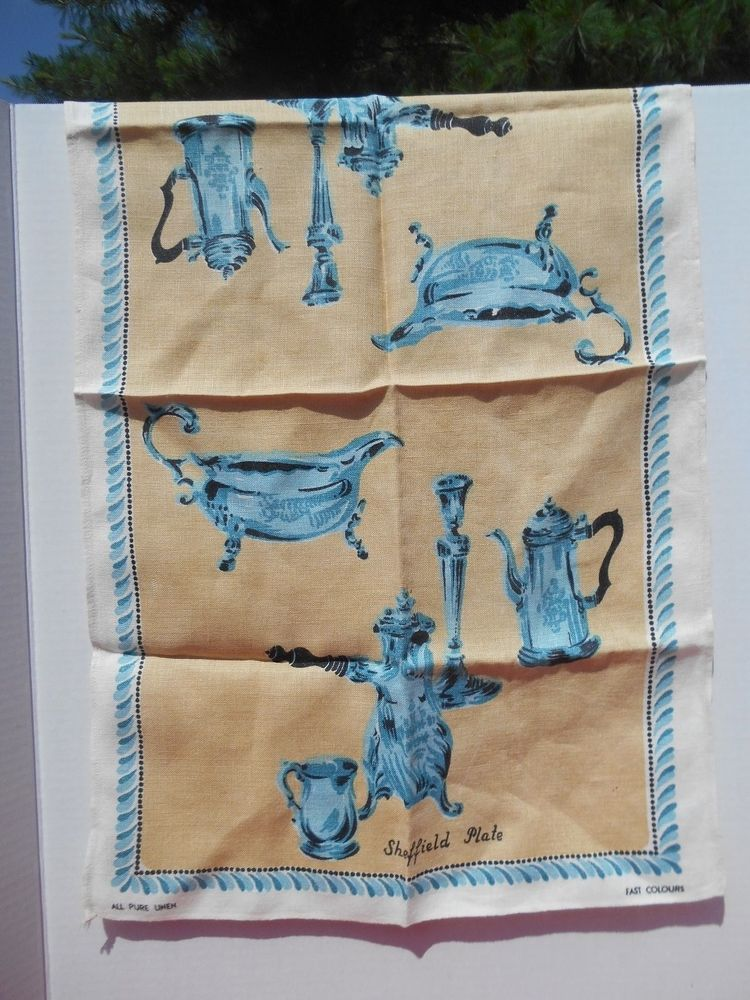Sheffield Plate Linen Tea Towel Blue and Cream Vintage