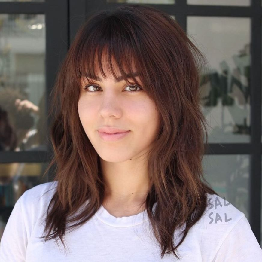 20 Wispy Bangs To Completely Revamp Any Hairstyle Wispy Bangs Medium Length Hair Styles Hairstyle