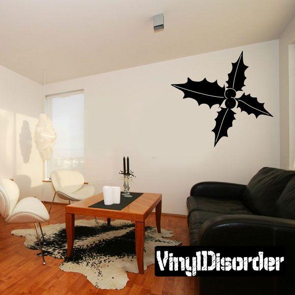 Holly mistletoe Wall Decal - Vinyl Decal - Car Decal - BA022