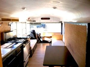 A family of 5 lives in this Skoolie! Amazing! Love the Murphy bed.