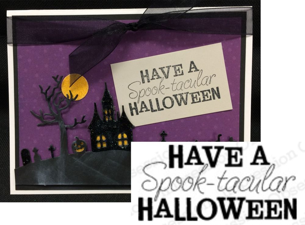 Spooktacular Halloween words rubber Stamp C5522 Impression Obsession Stamps…