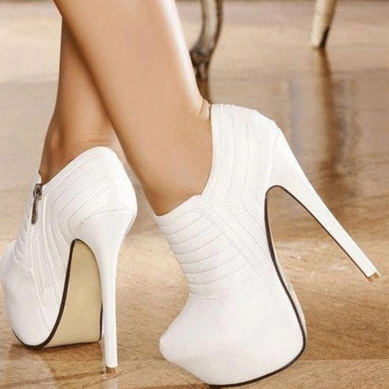 ad7a0dd37c4 DressWe - DressWe Fashion Pure White Platform High Heel Ankle Boots -  AdoreWe.com